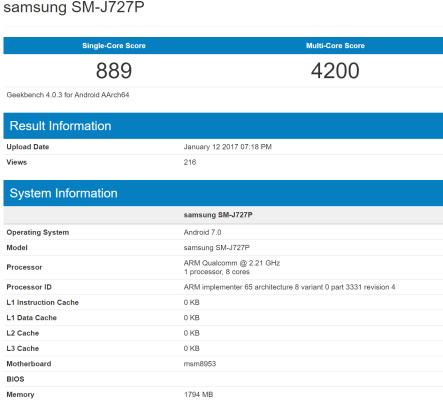 Galaxy J7 (2017) benchmark