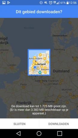Google Maps offline gebieden