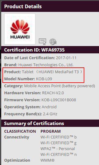 Huawei MediaPad T3 certificering
