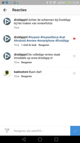 Instagram reacties liken