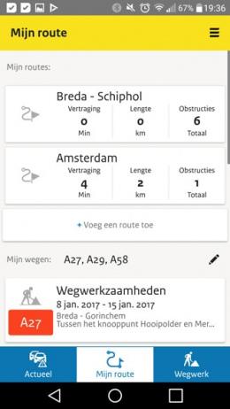Rijkswaterstaat Actueel route