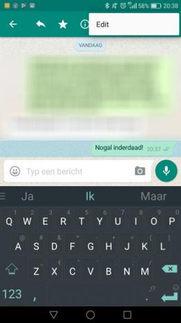 WhatsApp Bericht Bewerken