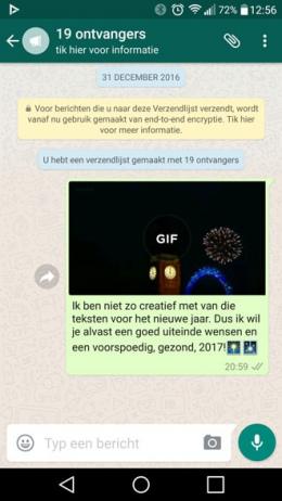 WhatsApp jaarwisseling nieuwjaar