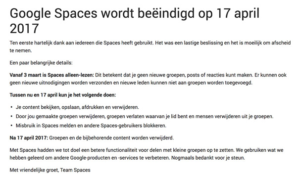 Google Spaces 17 april