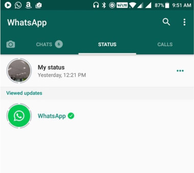 WhatsApp Status tab