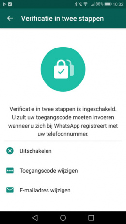 WhatsApp tweestapsverificatie