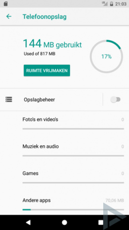 Android O Instellingen