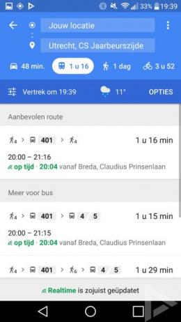 Google Maps 9.49 weersvoorspelling reisadvies
