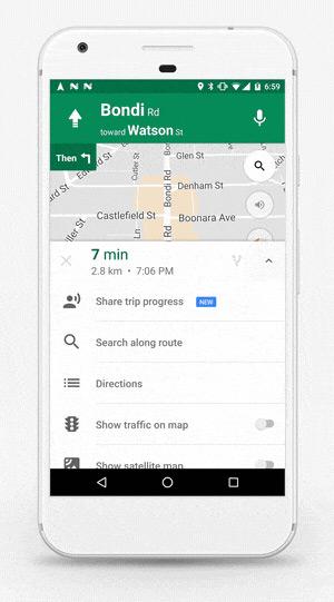 Google Maps route delen