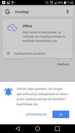 Google App offline zoeken