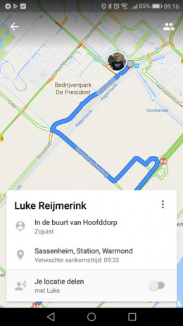 Google maps route delen