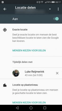 Google maps locatie delen instellingen