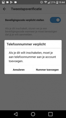 Instagram Tweestapsverificatie