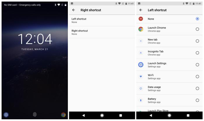 Android O Snelkoppeling vergrendelscherm