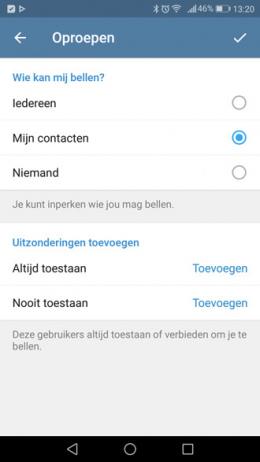 Telegram 3.18 belfunctie