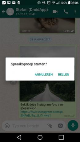 WhatsApp 2.17.93 melding oproep