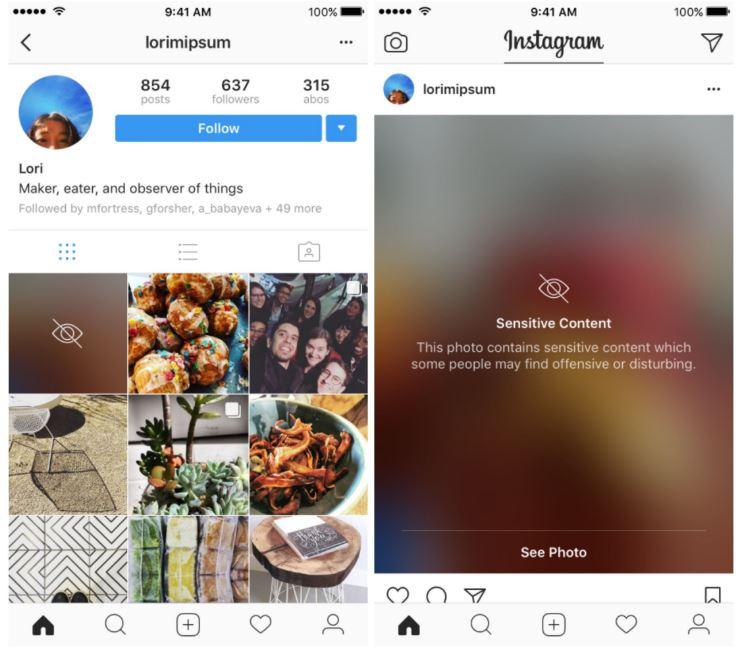 Instagram blur voor gevoelige content