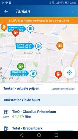 ANWB Onderweg 3.0 app tanken