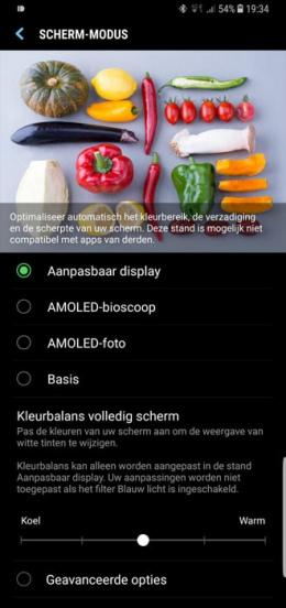 Galaxy S8 scherm-modus