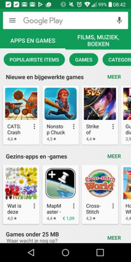 Google Play Store startscherm