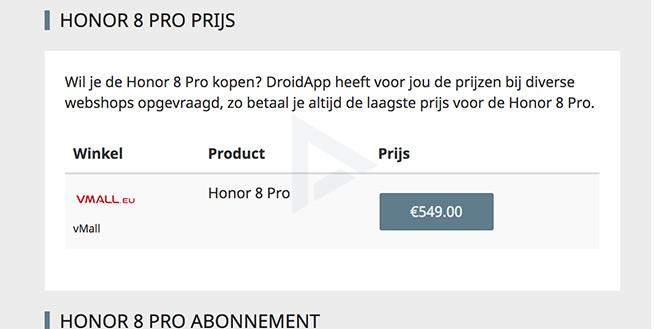 Honor 8 Pro prijs europa