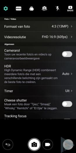 LG G6 camera instellingen