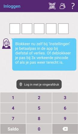 SNS app vingerafdrukscanner