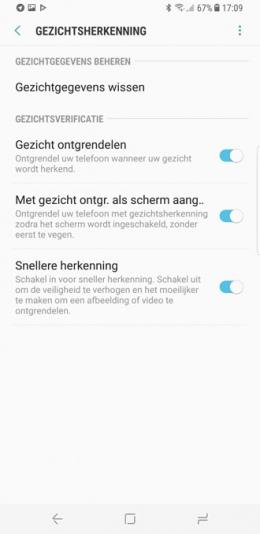 Galaxy S8 gezichtsherkenning
