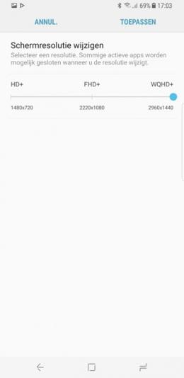 Galaxy S8 schermresolutie