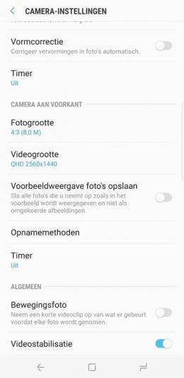Galaxy S8 selfie spiegelbeeld