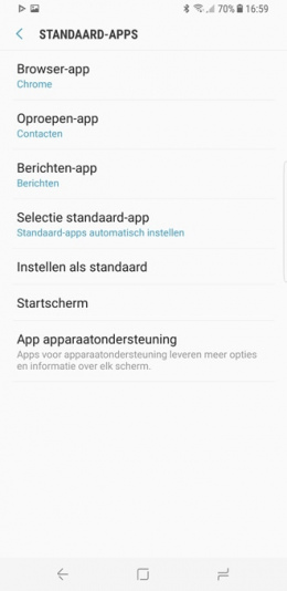 Galaxy S8 standaard apps