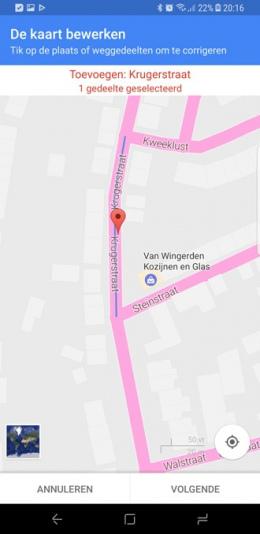 Google Maps bewerkingen