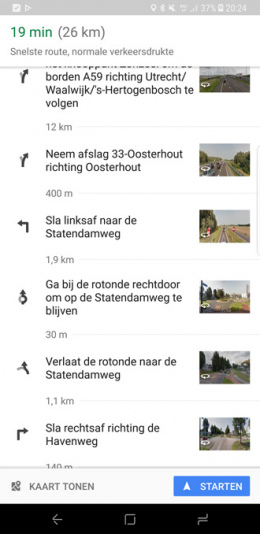 Google Maps routebeschrijving Street View