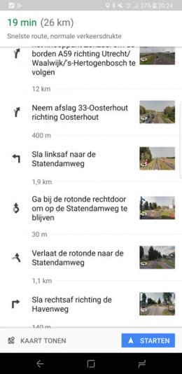 Google Maps routebeschrijving Street View