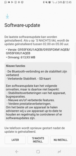 Software-update Galaxy S8 Plus