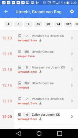 Google Maps vertrektijden openbaar vervoer