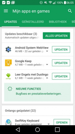 Google Play Store v8 in-line changelog