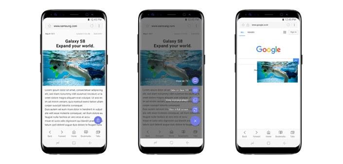 Samsung Internet 5.4 snelmenu