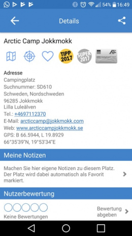 ADAC Camping Stellplatz app