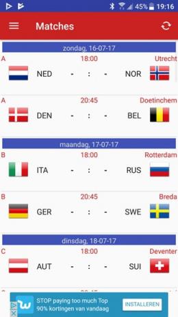 EK voetbal vrouwen 2017 app