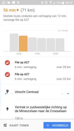 Google Maps verkeersdrukte indicator
