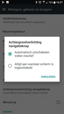 HTC U11 Toetsverlichting