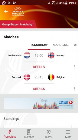 UEFA EK vrouwenvoetbal app