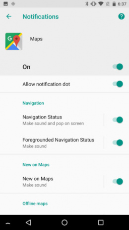 Google Maps 9.59 notificaties