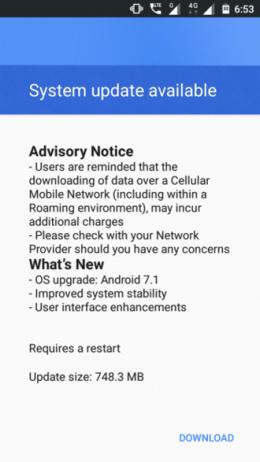 Android 7.1.1 Nougat Nokia 3