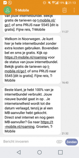 T-Mobile SMS buitenland