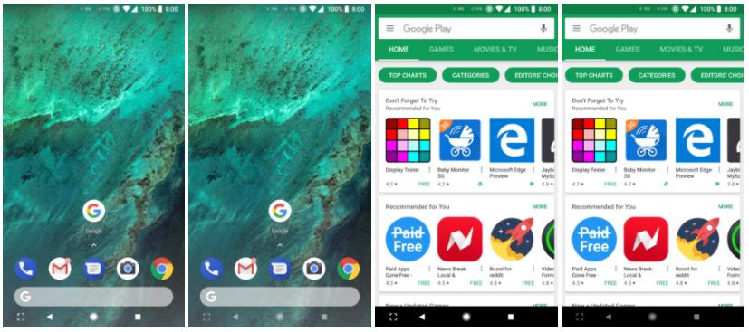 Android 8.1 Oreo navigatiebalk