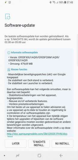 Galaxy S8 beveiligingsupdate oktober 2017