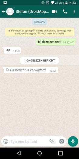 WhatsApp verwijder bericht