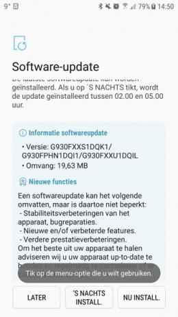 Galaxy S7 beveiligingsupdate november 2017
